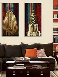 Peinture abstraite bâtiments à ossature Toile Lot de 2