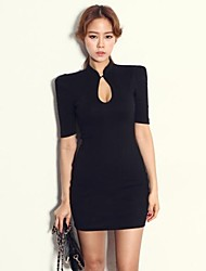 Women's Stand Mini Dress , Cotton Black Sexy/Bodycon/Casual/Party