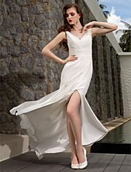 LAN TING BRIDE Sheath / Column Wedding Dress - Classic & Timeless Simply Sublime Sweep / Brush Train V-neck Georgette withAppliques