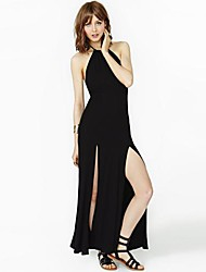 Women's Party Plus Size / Sexy Swing Dress,Solid Halter Maxi Sleeveless Black Spring / Summer / Fall