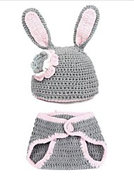 Children's Infant Baby Rabbit Pattern Wool Suit Headwear Cap Hat with Pants Gray