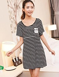 Striped Modal Breast Feeding Pregnant Women Dresses or Maternity Sleepwear Nursing