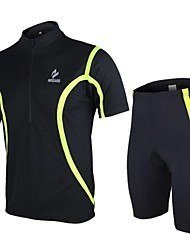 Arsuxeo Men's Cycling Short Sleeves Jersey Suits (Tops and  Pants) Black