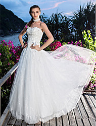 Ball Gown Plus Sizes Wedding Dress - Ivory Floor-length Sweetheart Satin/Lace