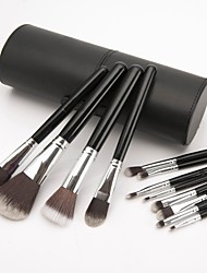 Professional 12 Pcs  Advanced Nylon Hair  Makeup Brush Set Cosmetic Make Up Tools With Leather Cylinder Holder