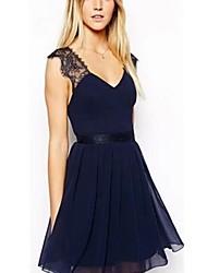 yilange Chiffon rückenfreie Kleid der Frauen (blaue Farbe)