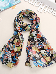 Bully Smiley Faces Chiffon Shawl Scarf
