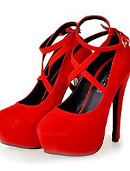Chaussures Femme - Décontracté - Noir / Rouge - Talon Aiguille - Bride de Cheville / Talons - Talons - Similicuir