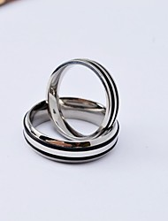Fashion High Quality Stripe Titanium Steel Polished Couple Rings