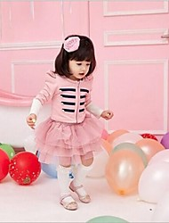 Girl's Pink / Gray Dress,Solid Spring / Fall