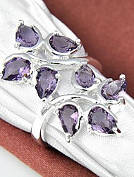 Unique Amethyst Gemstone Silver Ring 1PC