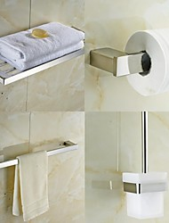 4-Piece Bath Collection Set,Contemporary Quadrate Stainless Steel,Bathroom Accessories Set