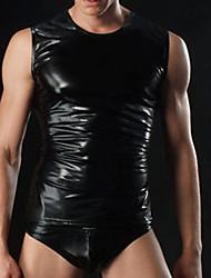 Imitación de superficie lisa de los hombres Ieather chaleco de los hombres atractivos ropa Stage Performance Wear Ropa de Hombre