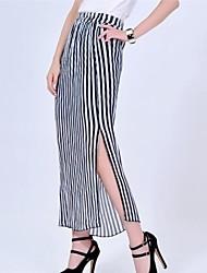 Women's Strip Chiffon Winkle Skirt