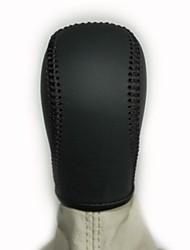 XuJi ™ Black Genuine Leather Gear Shift Knob Cover for Skoda Octavia Manual Transmission