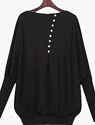 Women's Solid Black/Green Blouse , Bateau Long Sleeve Button
