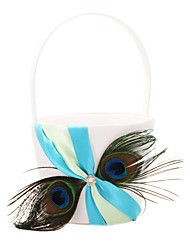 Flower Basket In Blue Satin With Feather Flower Girl Basket Peacock Wedding