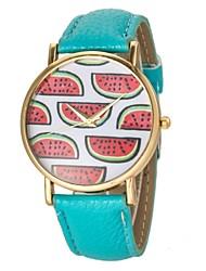 De la Mujer Sandía patrón pu banda de cuarzo reloj de pulsera (colores surtidos)