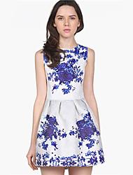 Sheinside Weiß ärmel Porzellan drucken Flare Kleid (weiß) Dress14021310