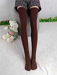 Mulheres malha de algodão sobre o joelho justas Coxa Meias / Meias Altas / Lingerie