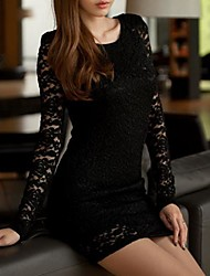 Women's Round Neck Lace Mini Dress , Lace Black Sexy/Lace