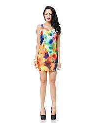 Women's Print Multi-color Dress , Sexy Deep U Sleeveless
