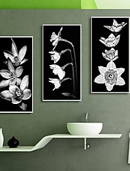 Black and White Flower Art Framed Canvas Print Set of  3