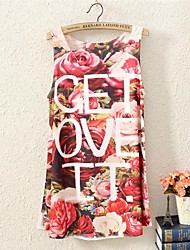 Women's Floral/Letter Vest , Round Neck Sleeveless