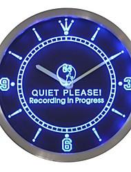 nc0440 Registrazione in corso Quiet Please On Air Neon Sign Orologio da parete a LED