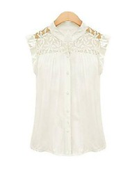 Women's Solid/Lace Blouse , Peter Pan Collar Sleeveless Lace