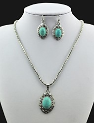 Vintage Antique Silver Turquoise(Include Necklace and Earring) Jewelry Set (Green)