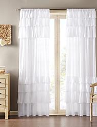 Cortinas de um painel do painel de poliéster sólido branco sala de estar país cortinas