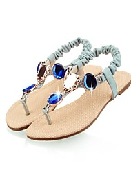Women's Summer Fall Toe Ring Ankle Strap T-Strap Leatherette Dress Casual Party & Evening Flat Heel Rhinestone Crystal Blue Pink Beige