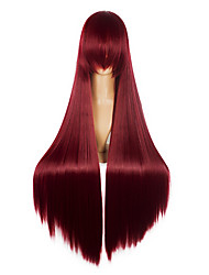 80cm Long Fairy Tail-Elza-Scarlet Dark Red Party Cosplay Costume Anime Wigs