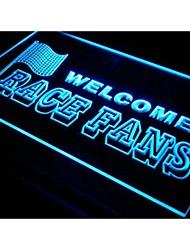 j288 Bem-vindo fãs da raça Decor Car Luz Neon Sign