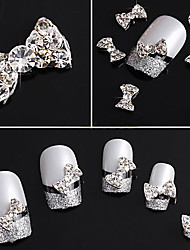 20PCS 3D Rhinestone Studded Silver Nail Art Decorations