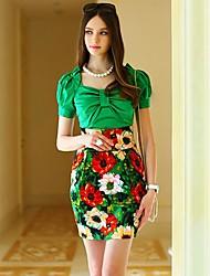 Rosadas de las mujeres de la muñeca elegante OL Romantic floral falda de cintura alta