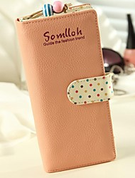 Women's Girls Fashion Sweet Wave Point Leather Wallets Card  Coin Purses Clutchs