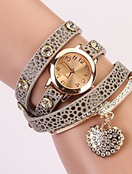 C&D Fashion Women Dress Watches Heart-shaped Diamond Pendant Leather Strap Watches XK-73