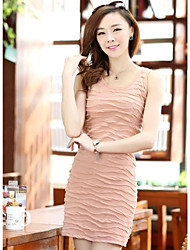 Women`s Contact Multicolored Polyester Sleeveless Dress Was Thin Wild