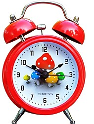 "Timess™ 3""H Cute Mushrooms Bell Night-light Mute Alarm Clock"