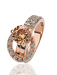 Women's Rose Gold Plated Ring With Diamond/Crystal/Cubic Zirconia