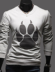 nono  Bear'S Paw Print Round Collar Long Sleeved T-Shirt