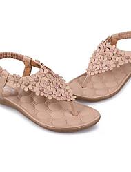 Zikafo New 2014 Summer Korean Style Womens Bohemia Beads And Flower Shaped Flat Heel Sandals Flip Flops