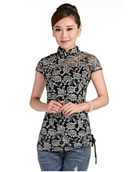 Women's Lace Blouse , Stand Short Sleeve Flower