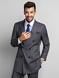 Suits Standard Fit Peak Single Breasted Two-buttons Polyester 2 Pieces Gray Straight Flapped None (Flat Front) None (Flat Front)