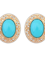 Women's European and America Fashion Oval Alloy Cutout Resin Beaded Stud Earrings (More Colors) (1 Pair)
