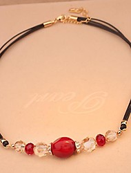 Vintage Jewelry Short  Rose Gold  Plated Red Agate Crystal Set Auger Cotton Rope Clavicle Necklace for Women