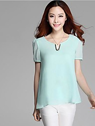 Women's Solid Black/Blue/Green/Pink Blouse , V Neck Short Sleeve