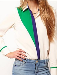Contrast da donna di colore Patchwork manica lunga in chiffon shirt Camicetta